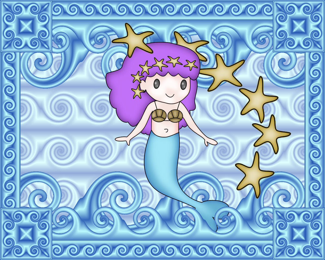 I really loved how cute the mermaid turned out so I used it for a wallpaper.